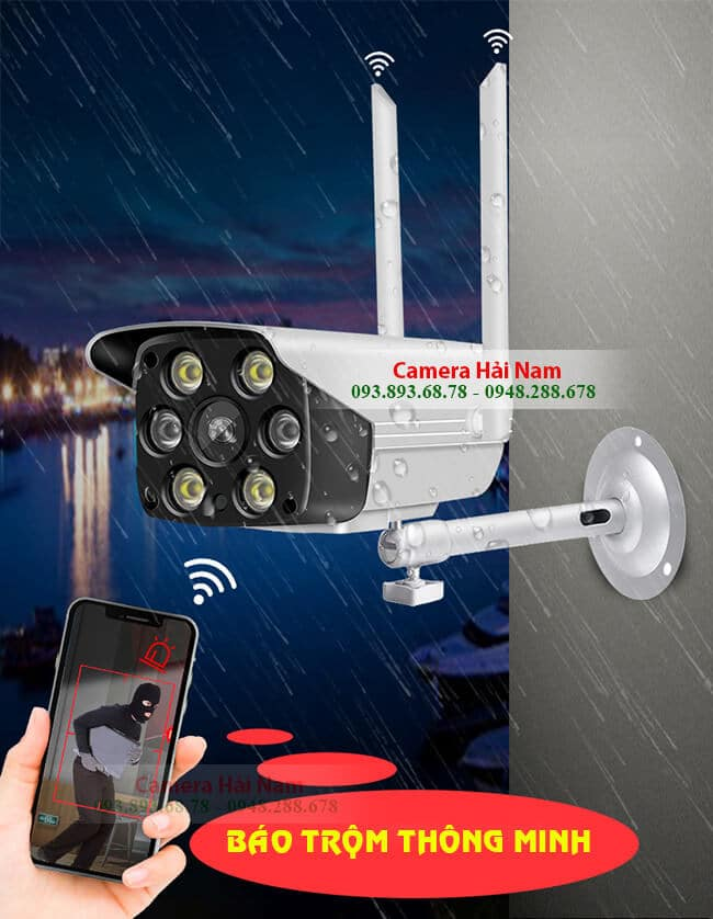 Camera Wifi Ngoài trời Giá rẻ 2MP Full HD 1080P có Đàm thoại, Hồng ngoại, Hình màu ban đêm